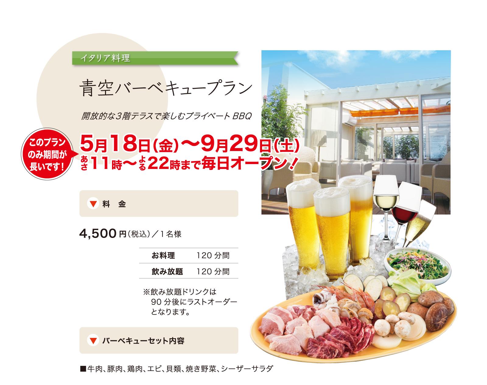 青空バーベキュープラン/お一人様あたり4500円(税込)